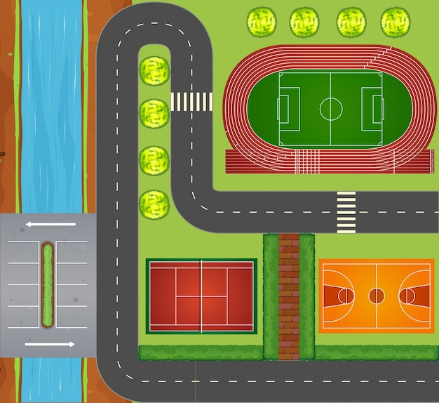Roads and sports facilities