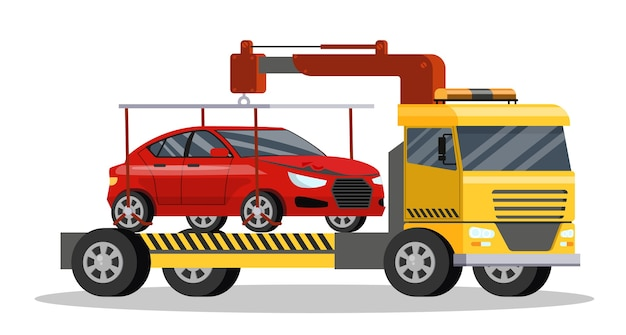 Roadside assitance with borken car on it. tow truck transportation to repair service.    illustration
