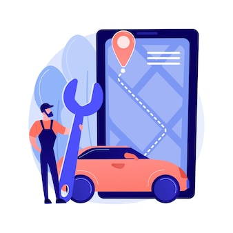 Roadside service abstract concept vector illustration. roadside assistance, car service provider, truck breakdown, mechanical repair, vehicle towing, professional help to driver abstract metaphor.