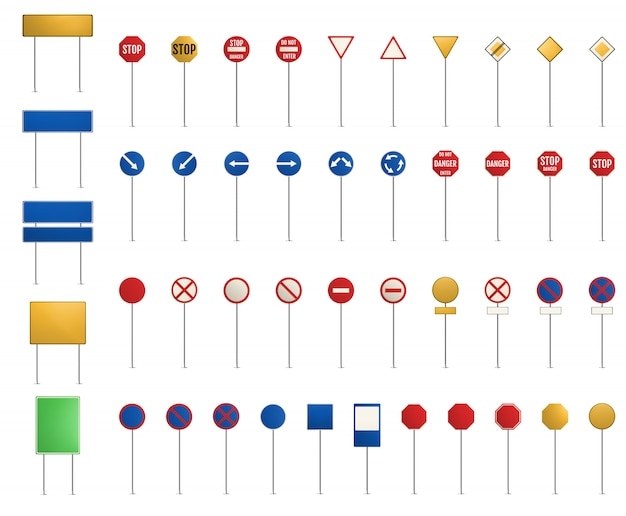 Roadsigns set.  blank road signs.