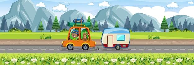 Roadtrip in the beautiful scenic view