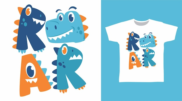 Roar dinosaur typography t shirt design