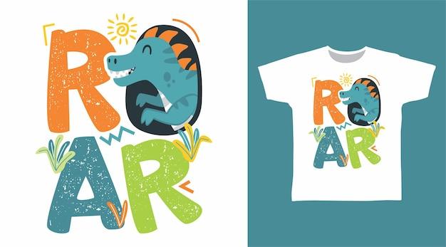 포효 공룡 타이포그래피 티셔츠 디자인