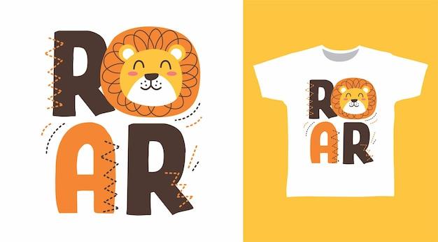 Tシャツのデザインのためのとどろくライオンのタイポグラフィ