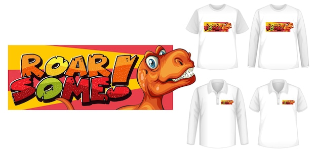 Roar some font and dinosaur cartoon character logo with different types of shirts