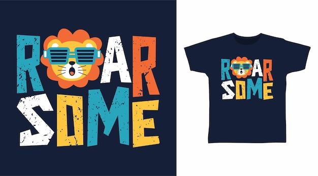ライオンのタイポグラフィtシャツのデザインでいくつかの轟音