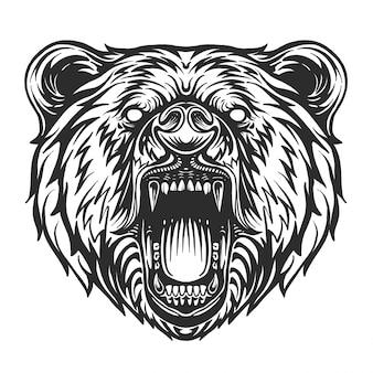 Roaring bear black and white. furious bear head.