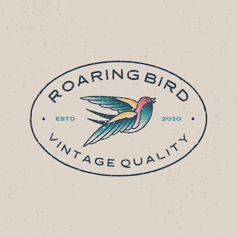 Roaring bird vintage retro tattoo logo  icon illustration