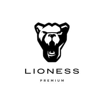 Roaring lioness head logo vector Premium Vector