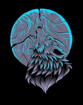 Roaring wolf in moon