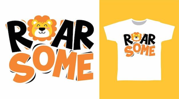 とどろくライオンのタイポグラフィtシャツのデザイン