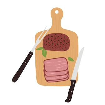 Roast beef cut on wooden cutting board with knife. big slice of smoked pork ham.