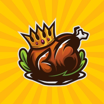 Roasted chicken king illustration template