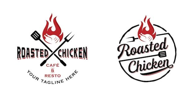 Roasted chicken steak restaurant logo template Premium Vector