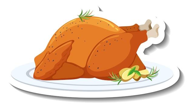 Жареный цыпленок с розмарином на тарелке