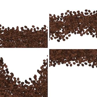 Roasted coffee beans isolated on white background set.