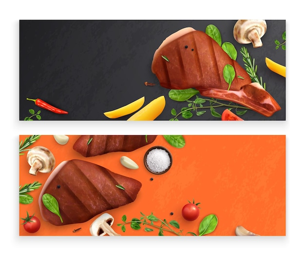 Roasted meat with vegetables banners