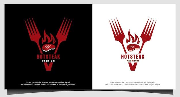 Жареный стейк гриль огонь пламя вилка логотип вектор