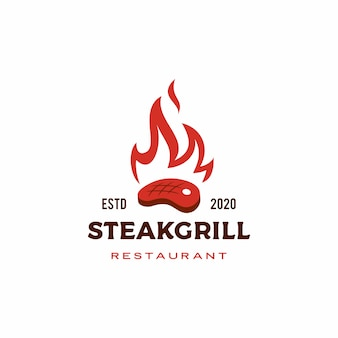Roasted steak grill fire flame logo
