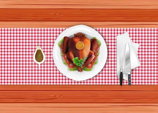 Roasted turkey bird on white plate