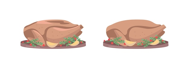 Roasted turkey flat color object set