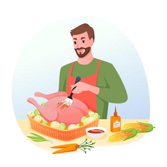 휴일 저녁에 구운 칠면조. 구이, 크리스마스 또는 추수 감사절을 위해 원시 칠면조를 준비하는 남자