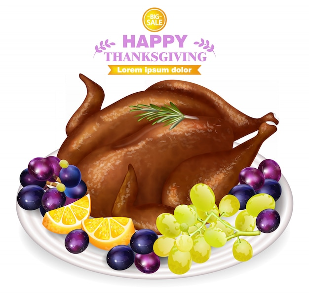 Roasted turkey and fruits on white plate
