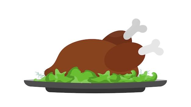 Жареная индейка на блюде с листом салата. жареная курочка. хорошо подходит для дизайна темы дня благодарения. изолированный. вектор.