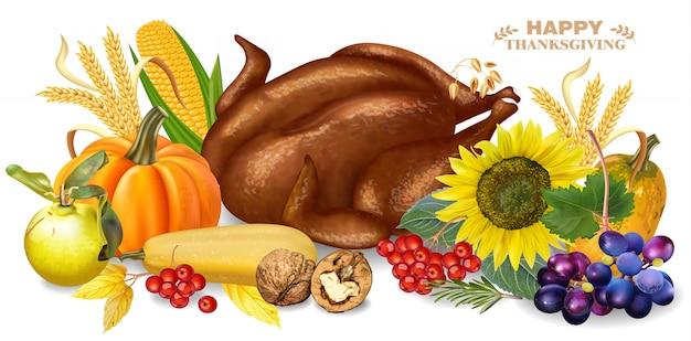 Roasted turkey and pumpkins