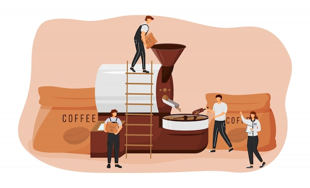 Обжарка кофе в зернах плоской концепции иллюстрации. бариста 2d герои мультфильмов для веб-дизайна. подготовка машин. процесс изготовления арабики и робусты. креативная креативная идея