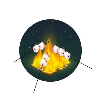 Roasting of marshmallows on bonfire