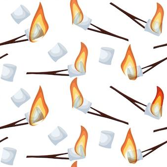 Обжаривание зефира бесшовные модели, изолированных на белом фоне.