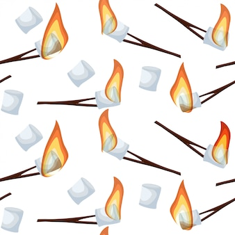 Roasting marshmallows seamless pattern isolated on white background.