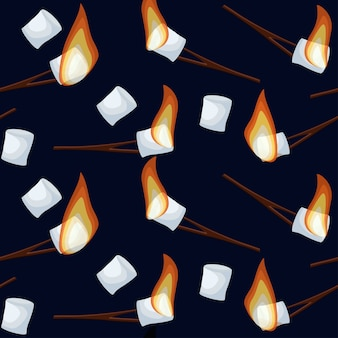 Roasting marshmallows seamless pattern