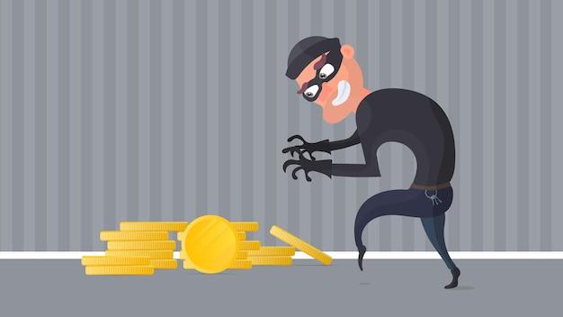 Грабитель и гора золотых монет. преступник крадет золотые монеты.