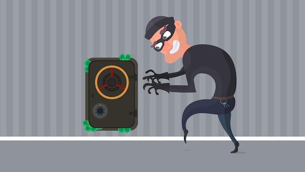 Грабитель и сейф с деньгами. доллары торчат из сейфа. преступник планирует ограбление. плоский стиль вектора.