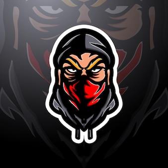 Голова грабителя талисман киберспорт дизайн логотипа