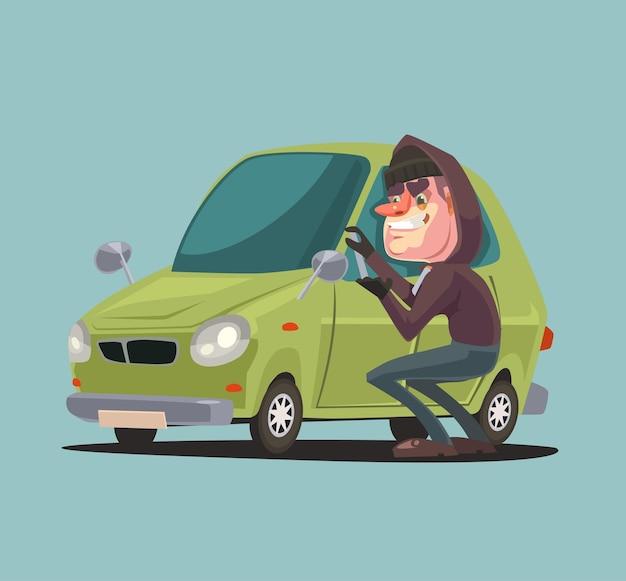 強盗の男のキャラクターが車のドアを盗んで壊す