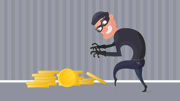 Robber and a mountain of gold coins. a criminal steals gold coins.