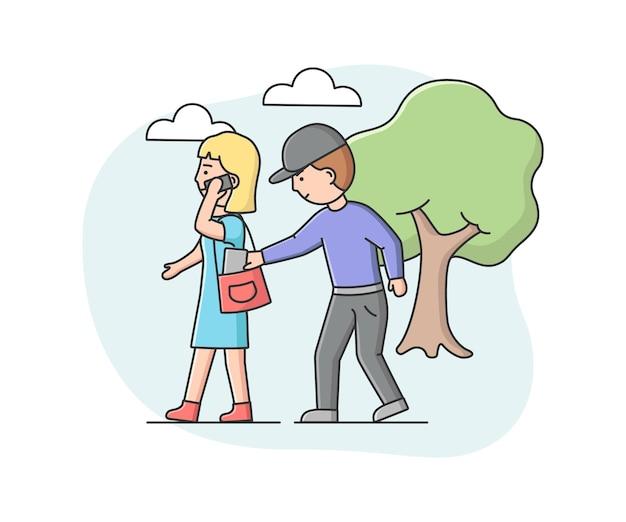 Карманник-грабитель пытается вытащить бумажник из женской сумки
