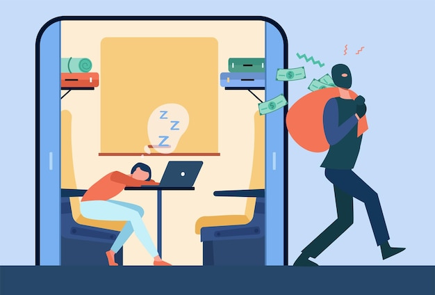 Грабитель ворует деньги у спящего пассажира поезда. мошенничество в маске с ограблением туристов