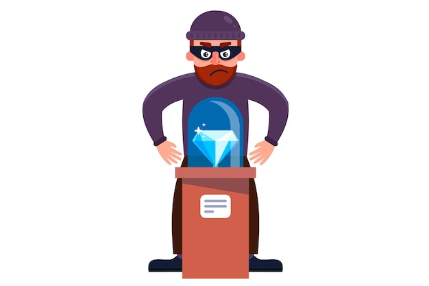 A robber steals a diamond from a museum. flat character  illustration isolated on white background.