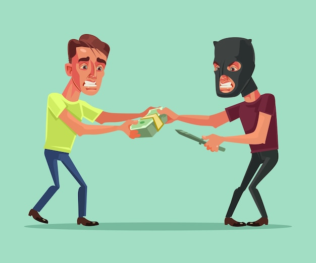 Robber tries to take money from office worker businessman character