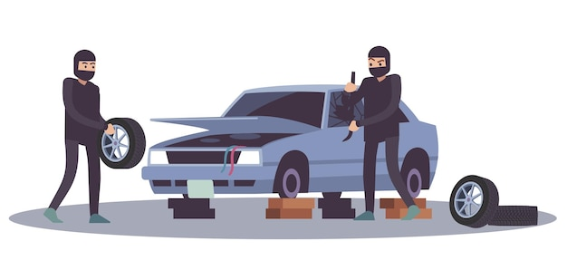 Грабежи, бандитизм, мародерство. воры разбирают автомобиль, преступный ущерб, уничтожение другого имущества, грабитель снимает колеса с автомобиля, взламывает автомобиль мультяшный плоский векторная иллюстрация