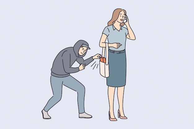 Robbery, thief and crime concept. young man robber thief in hood trying to steal female belongings from her bag outdoors vector illustration