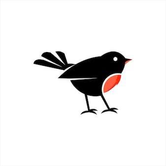 Robin bird design cute animal doodle vector art and nature graphic element