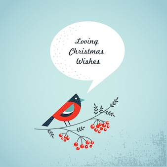 Robin with a speech bubble - template for merry christmas greeting card, banner or poster