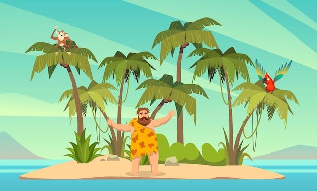 Робинзон крузо. человек на необитаемом острове в океане и пальмовых кокосовых пальмах с попугаем и обезьяной, пейзаж тропического рая, песчаный пляж плоский мультфильм векторные иллюстрации