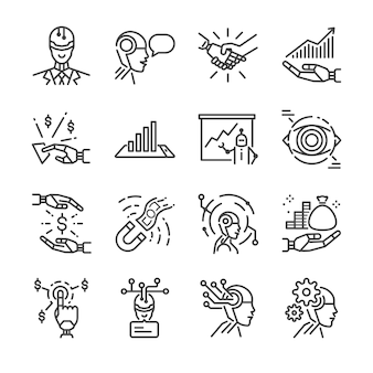 Robo advisor line icon set.
