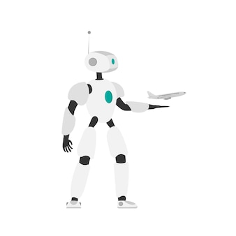 Robor launches the plane into the air. concept of online purchase and booking of air tickets. vector.